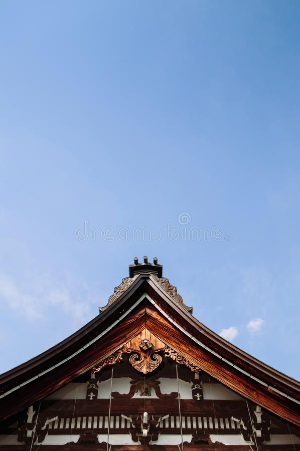 Old historic ancient Japanese Honko-Ji temple carved wood roof T stock photography