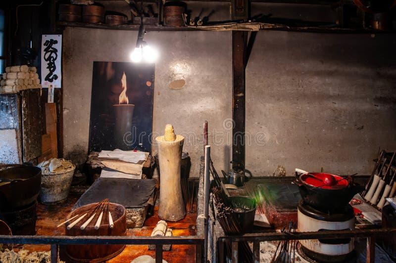 Traditional vintage Japanese candlestick workshop in Hida Furukawa, Gifu, Japan stock images