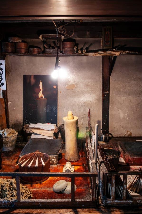 Traditional vintage Japanese candlestick workshop in Hida Furukawa, Gifu, Japan stock photos