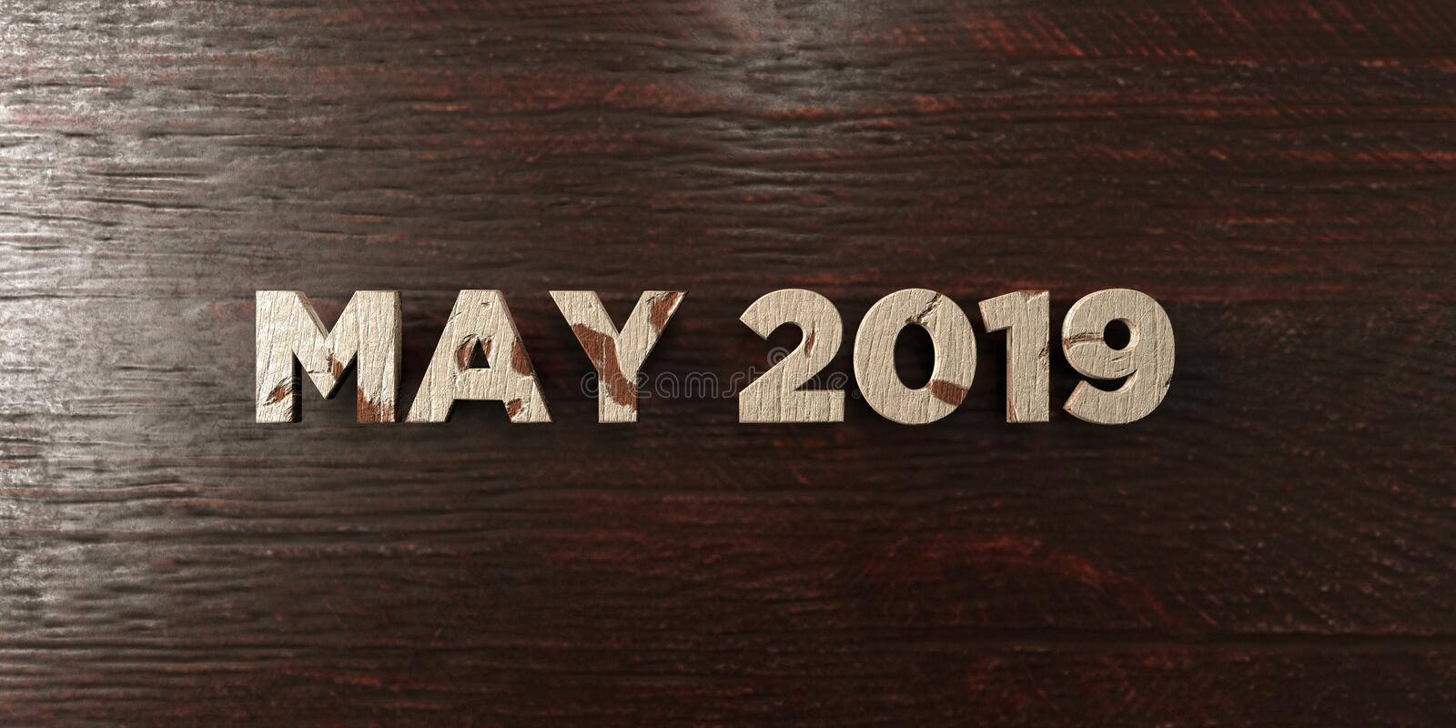 May 2019 - grungy wooden headline on Maple - 3D rendered royalty free stock image. This image can be used for an online website banner ad or a print postcard royalty free illustration