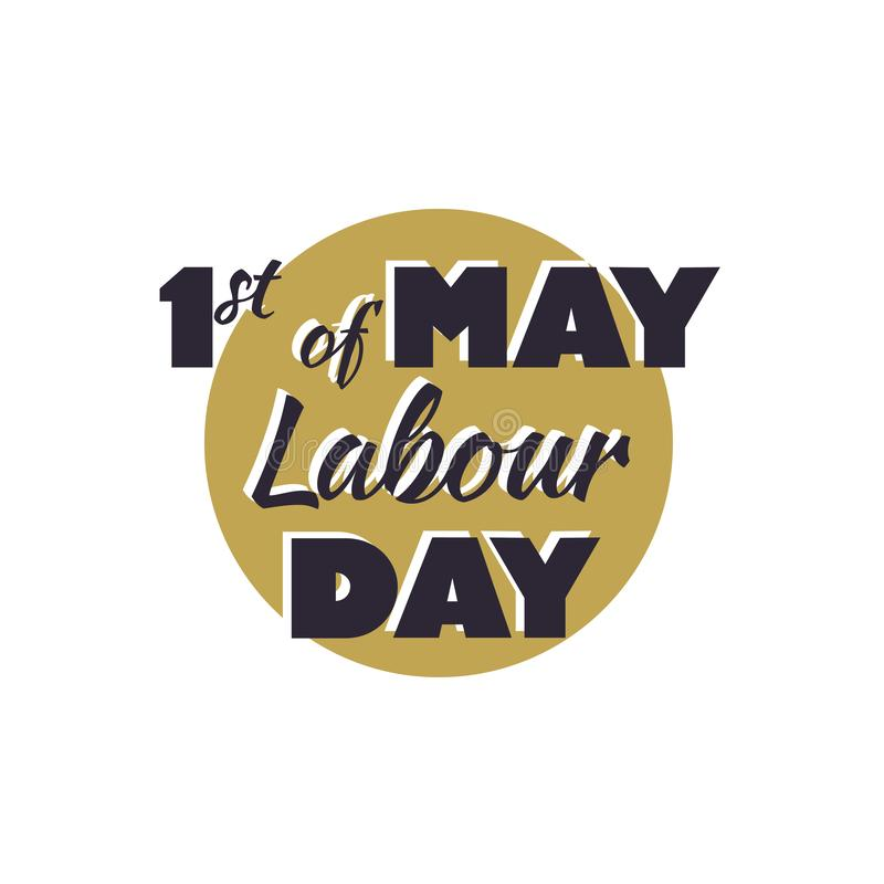 1 may Happy labour day vector label royalty free illustration