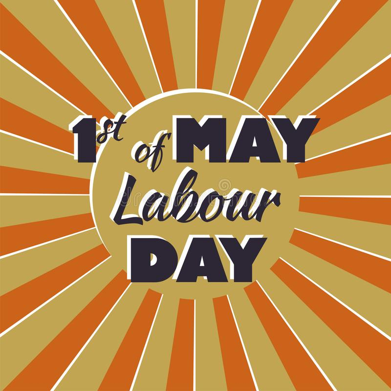 1 may Happy labour day vector label  on yellow vector illustration