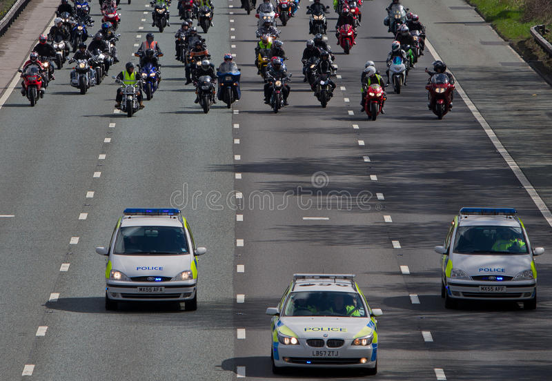 May-hem Fuel Protest 2010 - Police Escort. The police escort at the front of the 400 bike protest at high UK fuel prices on the M60 motor way stock photos
