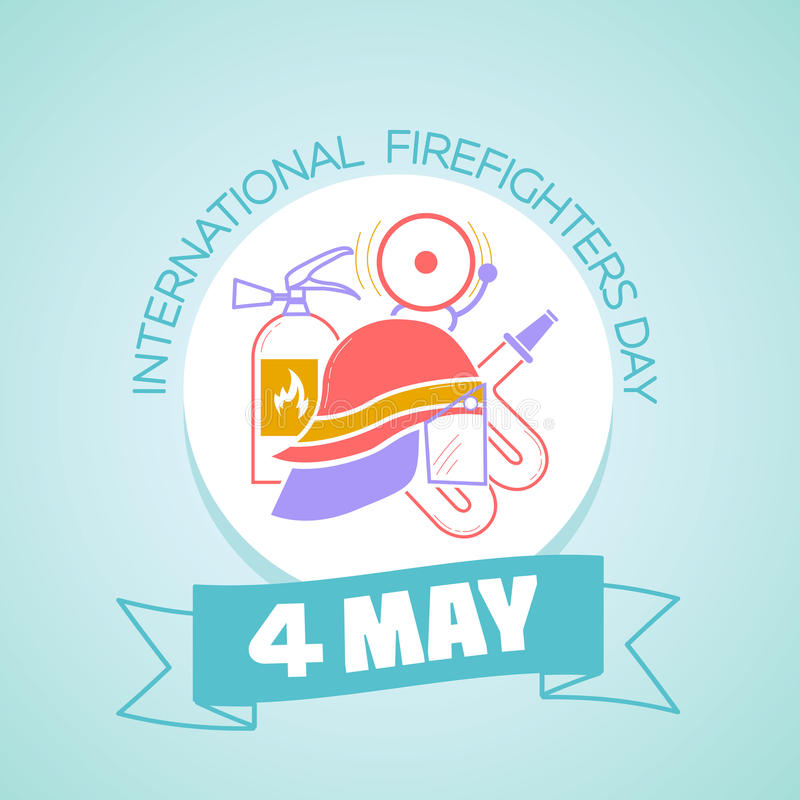4 may International Firefighters Day. Calendar for each day on may 1. Greeting card. Holiday - International Firefighters' Day. Icon in the linear style vector illustration