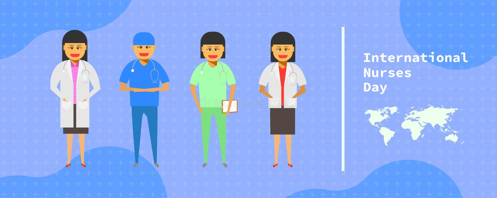 12 may. international nurses day. female doctor group standing on abstract background. vector illustration ep10. 12 may. international nurses day. female doctor stock illustration