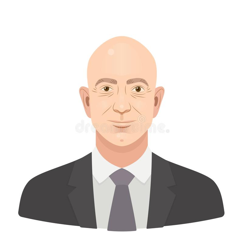 May, 2018. Jeff Bezos. Jeffrey Preston Bezos - the famous entrepreneur and founder, richest businessman. Vector flat. Portrait isolated on a white background stock illustration