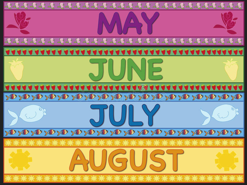 May june july august vector illustration
