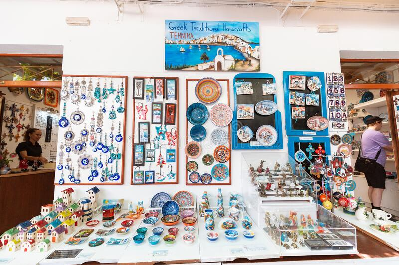 Greek ceramics and other souvenirs for sale at the streets of old town of Lindos. Greek traditional royalty free stock photography