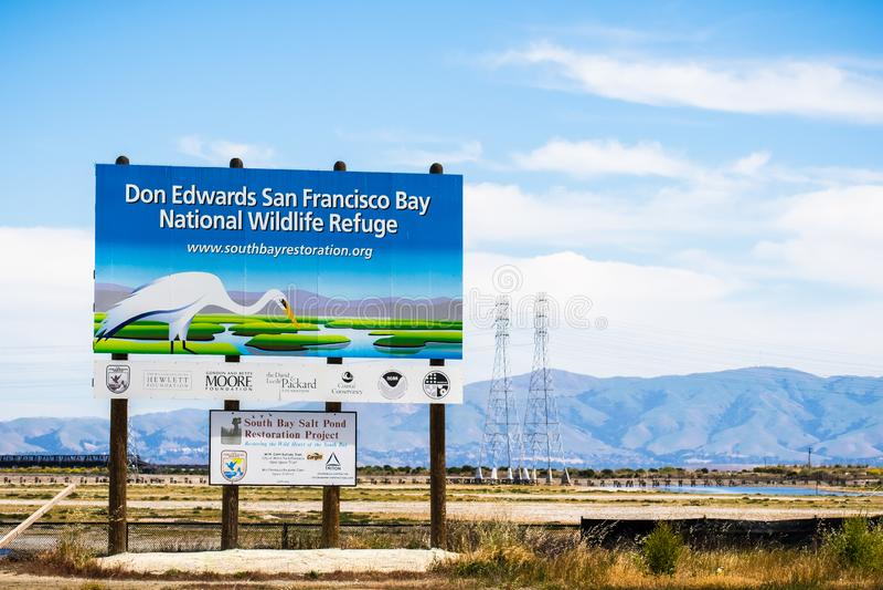 May 8, 2018 Menlo Park / CA / USA - 'Don Edwards San Francisco Bay National Wildlife Refuge ' and 'South Bay Salt Pond Restorati. On Project ' billboards posted royalty free stock images