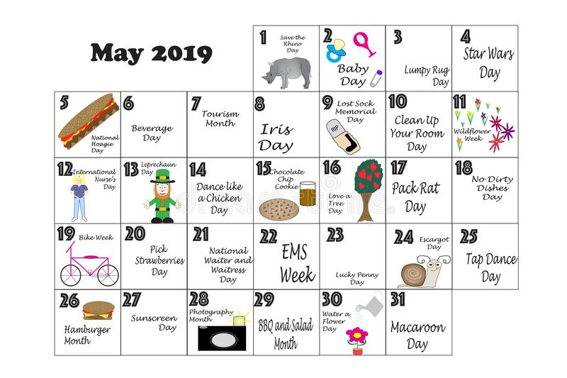 May 2019 Quirky Holidays and Unusual Events. May 2019 monthly calendar illustrated and annotated with daily Quirky Holidays and Unusual Celebrations with Sunday royalty free illustration