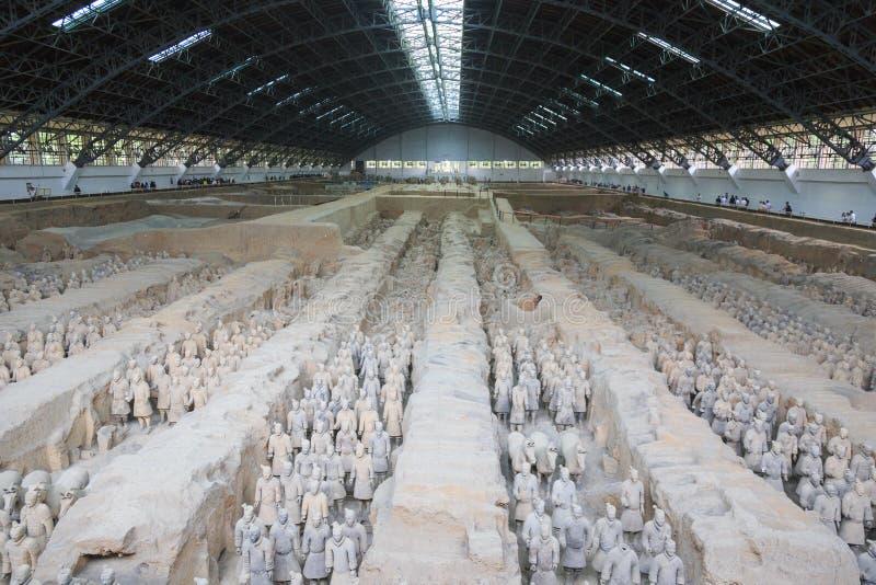 May-07-2017: O exército, os guerreiros e os cavalos da terracota Xian China fotos de stock
