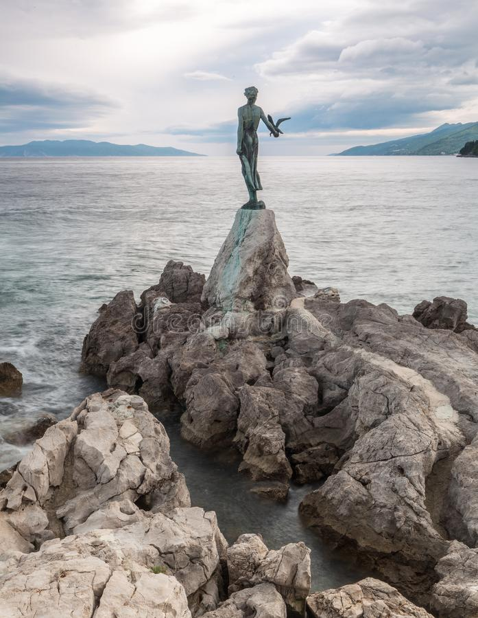 13 MAY 2019. Opatija, Croatia. Maiden with the Seagull statue stock photography