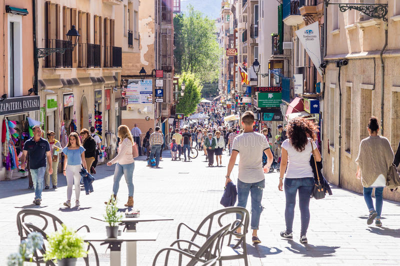 11 MAY 2016. People at the central streets of Palma de Mallorca, Spain stock photos