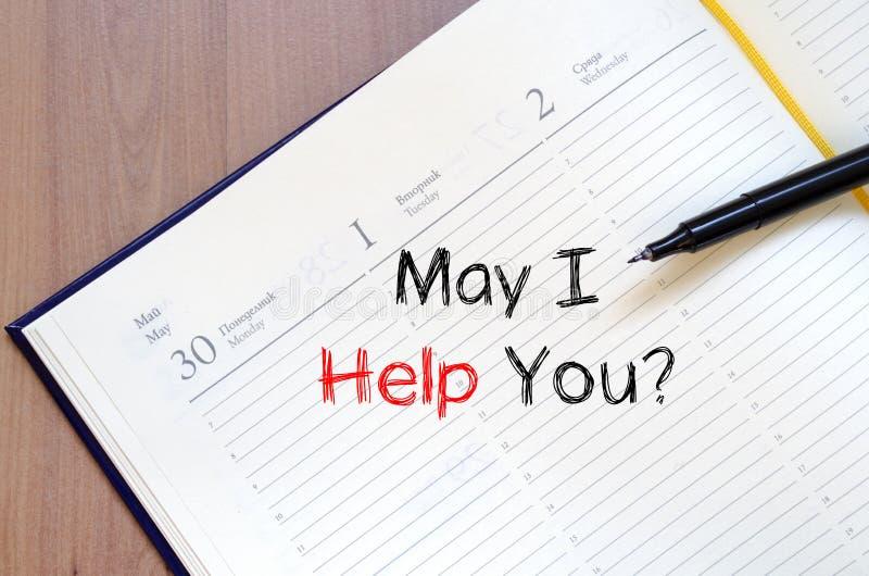 May pomagam ciebie pisać na notatniku zdjęcia stock