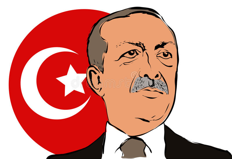 06. May 2017.Portrait of the President of Turkey Recep Tayyip Erdogan vector illustration