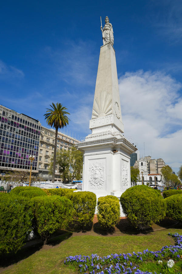 May Pyramid at the Plaza de Mayo Square. Buenos Aires, Argentina - Sept 15, 2016: May Pyramid at the Plaza de Mayo Square, is the oldest national monument in the stock image