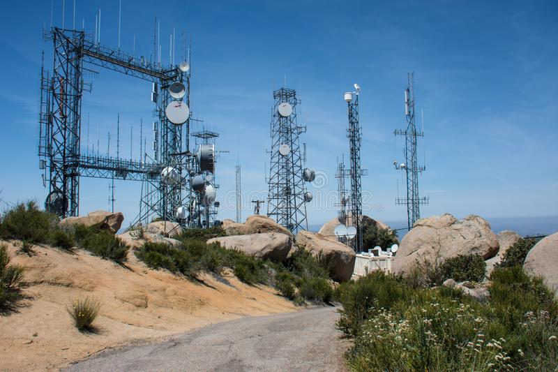 Ramona, California: Electrical cell and communication towers on top of Mt. Woodson in Southern California. Electrical cell and communication towers on top of Mt royalty free stock photos