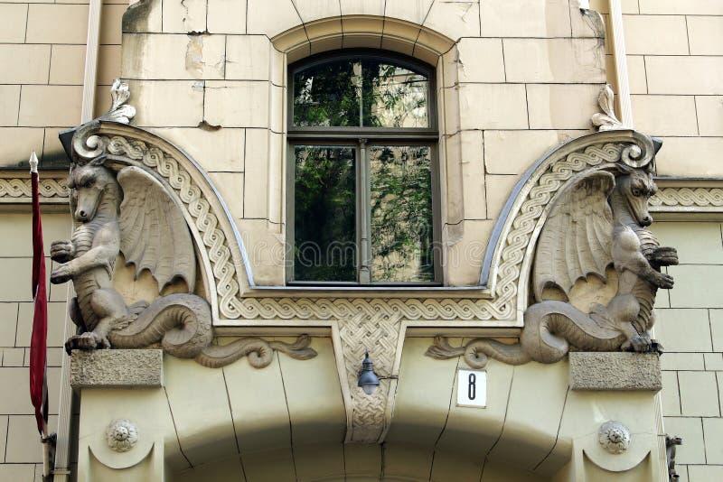 Art Nouveau building facade fragment Antonijas 8 street Riga Latvia. 03 .may 2018 Riga, Latvia. Art Nouveau building facade fragment Antonijas 8 street Riga royalty free stock image