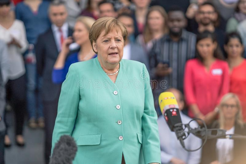 May 23, 2019 - Rostock: German Chancellor Angela Merkel at a press conference. In Rostock royalty free stock photography
