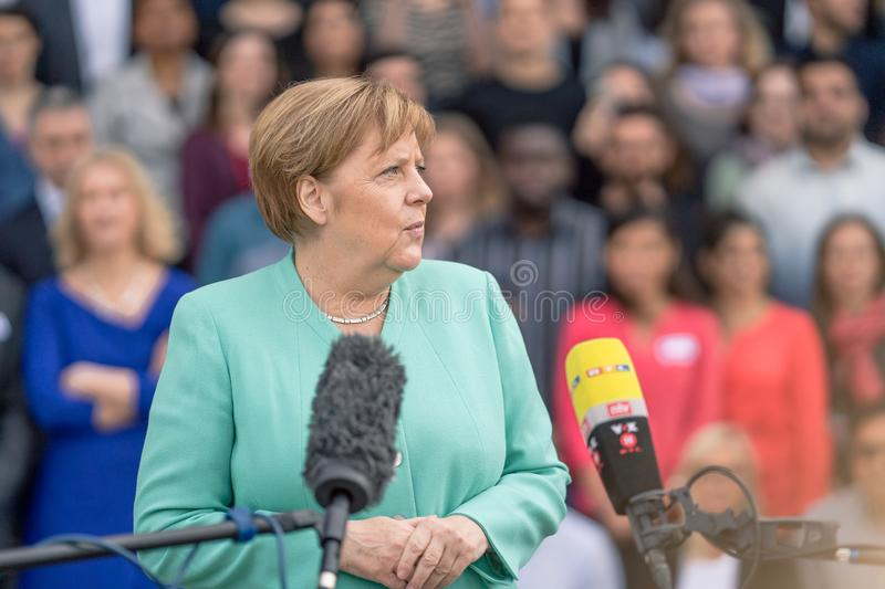 May 23, 2019 - Rostock: German Chancellor Angela Merkel at a press conference. In Rostock royalty free stock photo