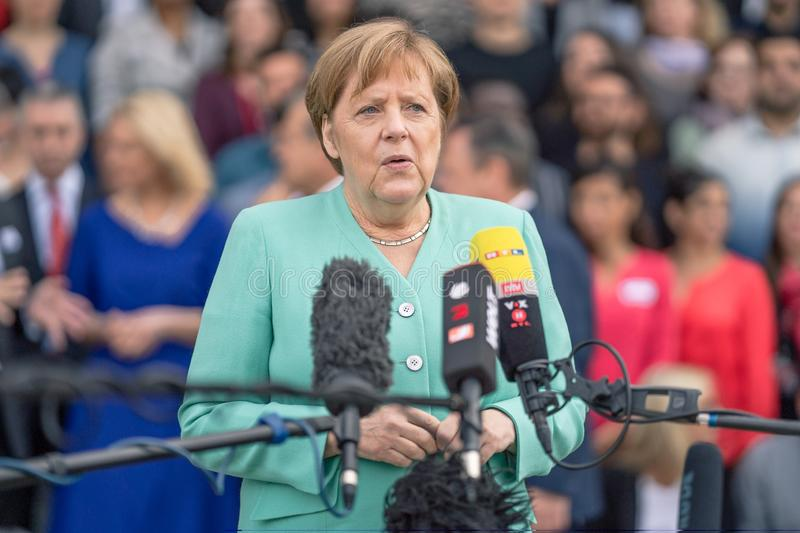 May 23, 2019 - Rostock: German Chancellor Angela Merkel at a press conference. In Rostock stock photo