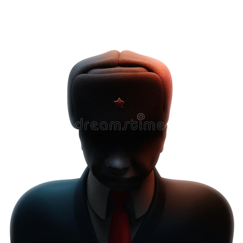 May 6, 2017: Russia blamed in massive hacking attack ahead of French presidential election. Russian spy with darkened face 3D illu. May 6, 2017: Russia blamed in royalty free illustration