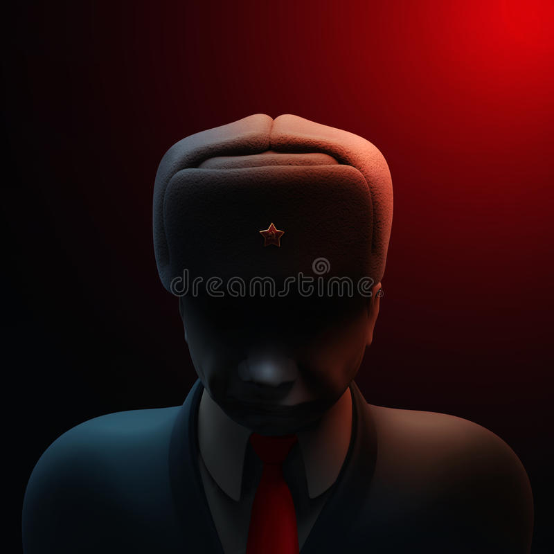 May 6, 2017: Russia blamed in massive hacking attack ahead of French presidential election. Russian spy with darkened face 3D illu. May 6, 2017: Russia blamed in vector illustration