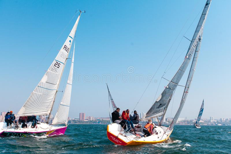 MAY 15, 2017 - Russia, Vladivostok: Regatta for yachts royalty free stock images