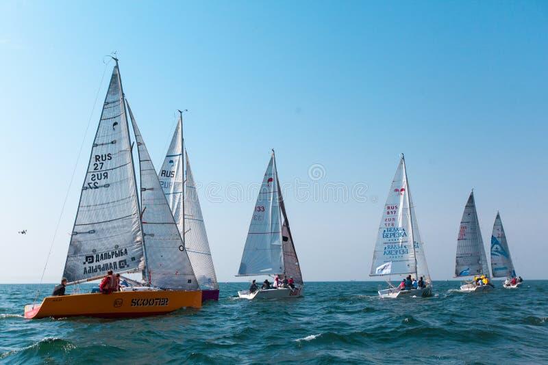 MAY 15, 2017 - Russia, Vladivostok: Regatta for yachts royalty free stock image