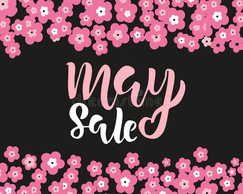 May sale flyer template with handwritten lettering with flowers. Poster, card, label, banner design. Bright and stylish sketched. May sale flyer template with stock images