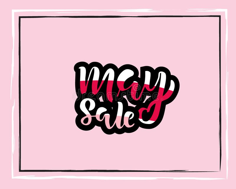 May sale flyer template with handwritten lettering. Poster, card, label, banner design. Bright and stylish sketched striped text. stock illustration
