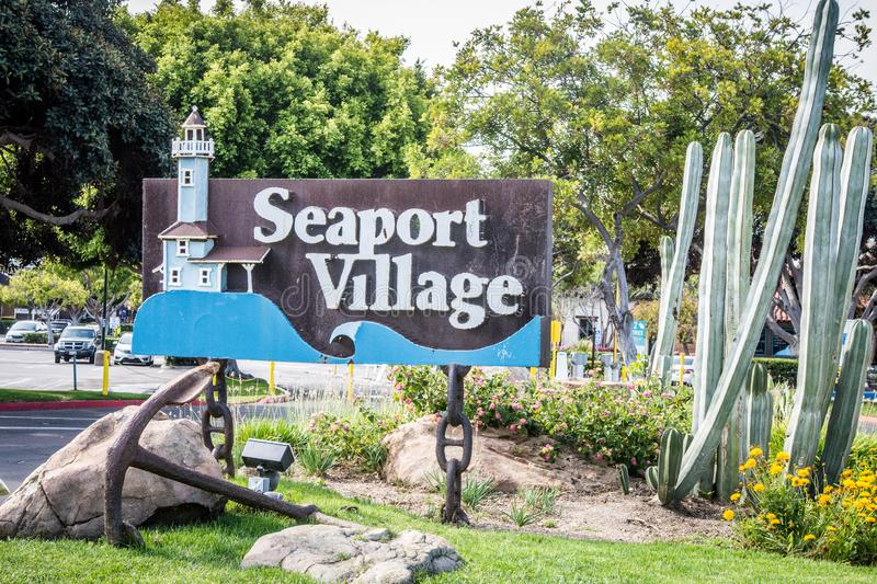 Sign for Seaport Village, a shopping center, welcomes visitors royalty free stock image