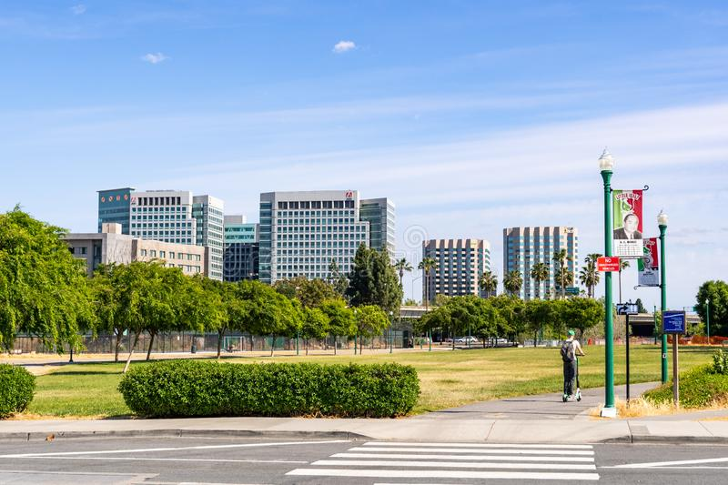 May 5, 2019 San Jose / CA / USA - San Jose`s downtown skyline as seen from the Little Italy neighborhood on a sunny spring day;. Silicon Valley, California royalty free stock photos