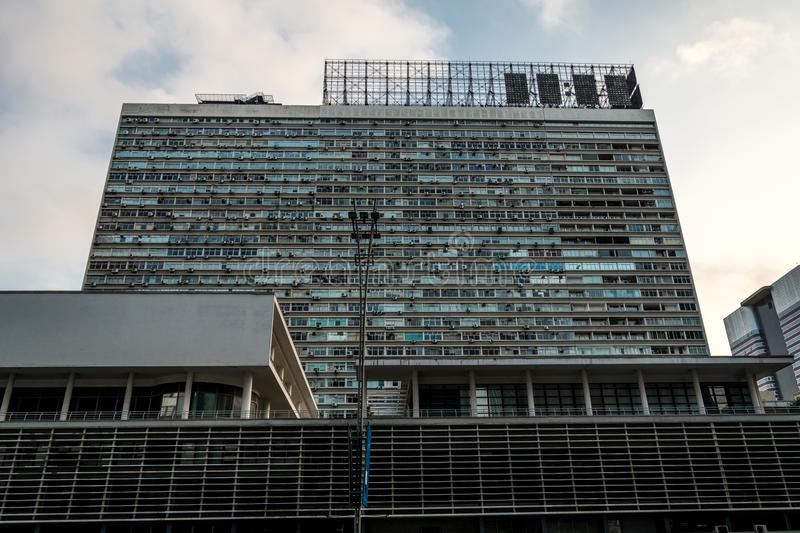 Front view of a modern and famous building, in Sao Paulo, Brazil. 2018, May; Sao Paulo, Brazil. Front view of a famous building Conjunto Nacional stock photography