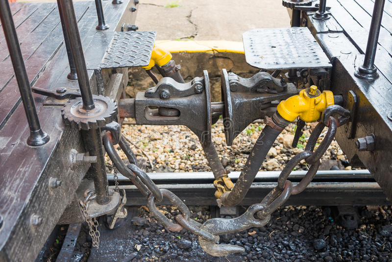 May Smoke train car hook coupler stock photos