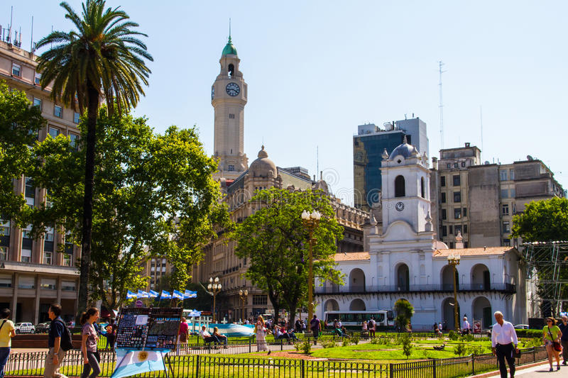 May Square Buenos Aires. BUENOS AIRES, ARGENTINA - CIRCA DECEMBER 2014: Plaza de Mayo, on December 2014, Buenos Aires, Argentina stock photo