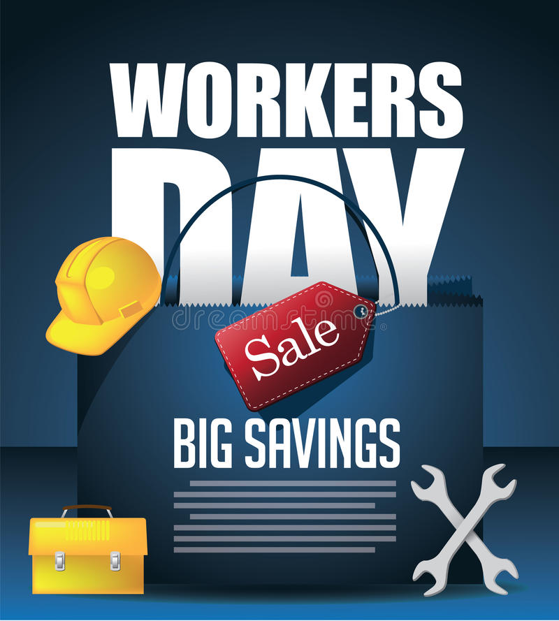 May 1st Labor Day Workers Day Sale background. royalty free illustration