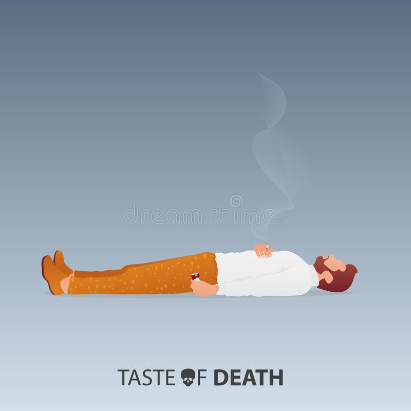 May 31st World No Tobacco Day. No Smoking Day Awareness. Stop Smoking Campaign. Death of smoker concept. Vector. royalty free illustration