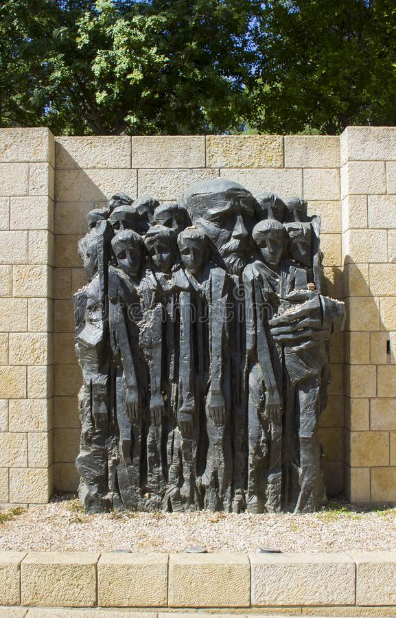 A stone sculpture depicting child victims of the Holocaust at the Yad Vashem Holocaust Museum and Memorial in Jerusalem Israel royalty free stock photography