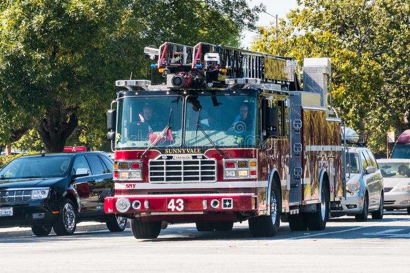 May 17, 2018 Sunnyvale/CA/USA - Fire engine on the street in downtown Sunnyvale, south San Francisco bay area royalty free stock photography