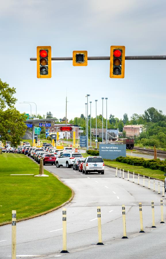 May 26, 2019 - Surrey, BC: Traffic lineup for US border at Peace Arch Park. royalty free stock images