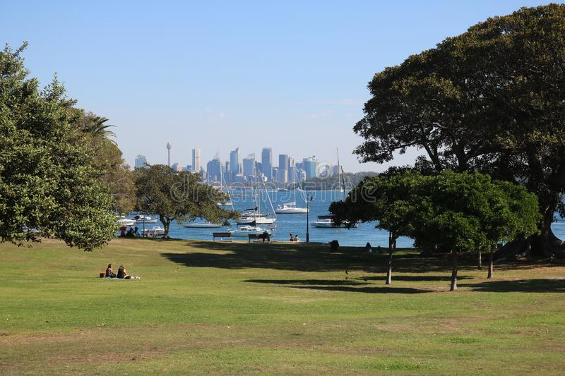 10 May 2018 - Sydney, Australia: View of city skyline from Watson`s Bay stock photography