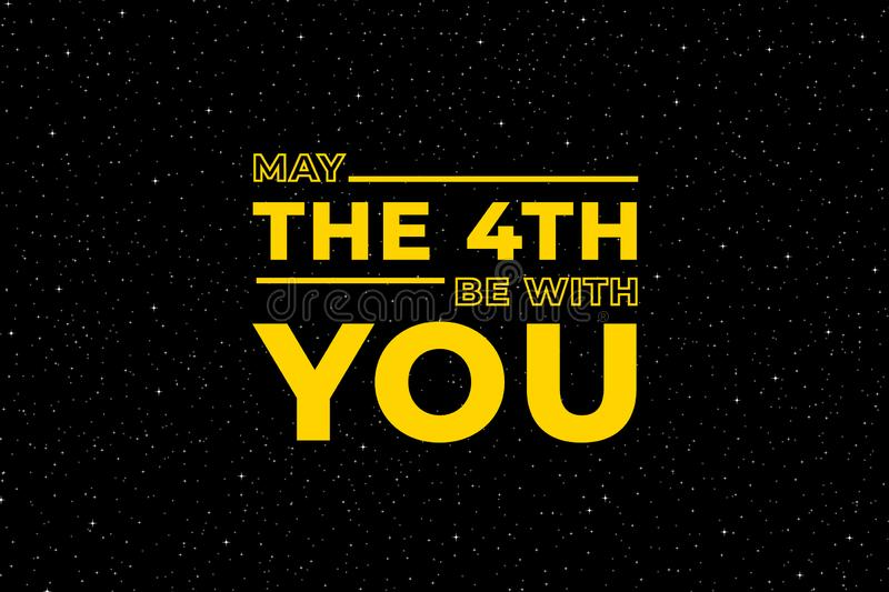 May the 4th be with you. Starry sky poster, star force and hand drawn stars vector illustration royalty free illustration