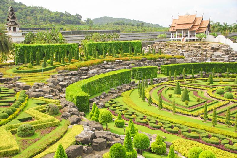 May 6, 2011, Thailand Pattaya landmark meadow Tropical Park Nong Nooch, beautiful garden colorful outdoor pretty history tourism stock image