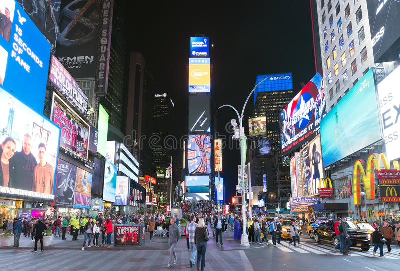 May16, 2016 Times Square crowds. The site is regarded as the wor stock image