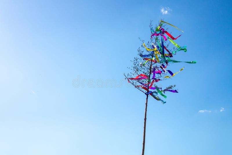 May tree, traditional hungarian austrian german folklore decoration in may with blue sky stock photography