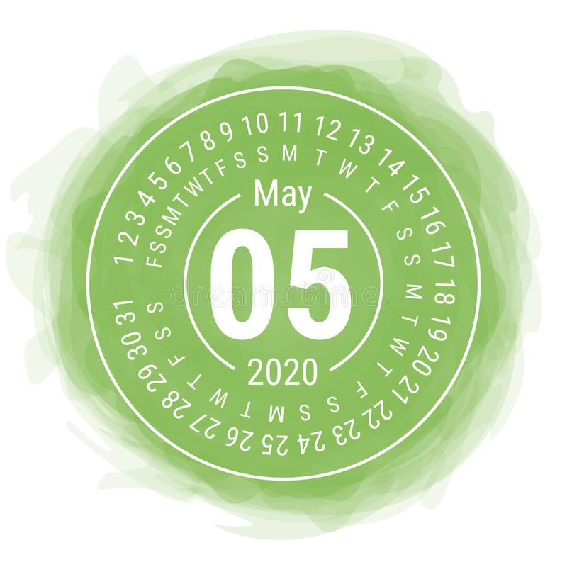 May 2020. Vector English сalendar. Watercolor kid`s sketch doodle style. Color hand drawn frame. Round calender. Smoky circle.  stock illustration