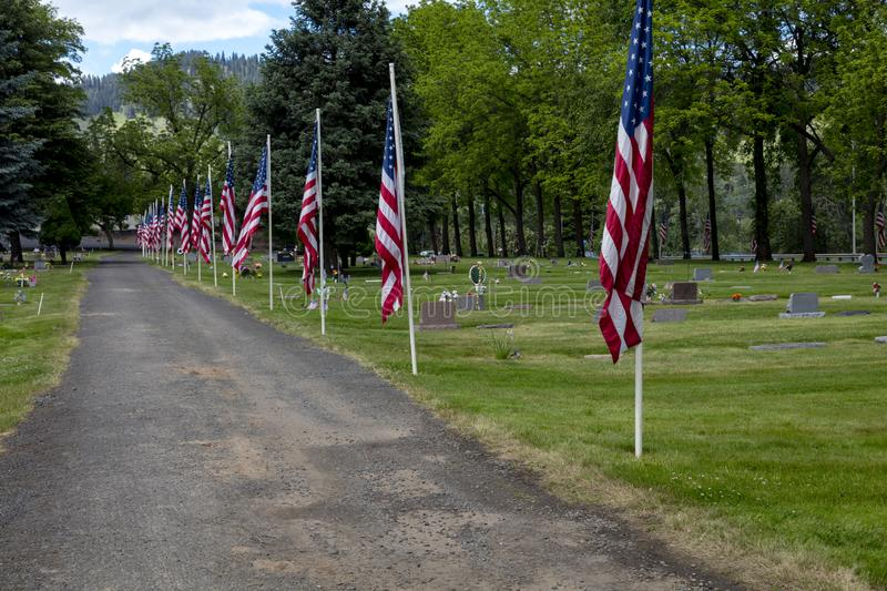 MAY 25, 2019, WASHINGTON STATE USA - Memorial Day Cemetery Riverview Heights Cemetary in Kennewick, WA stock photo