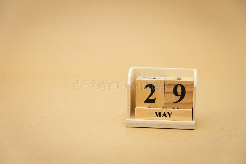 May 29 wooden calendar on vintage wood abstract background. using as background Universal day concept with copy space for your. Text or design royalty free stock images