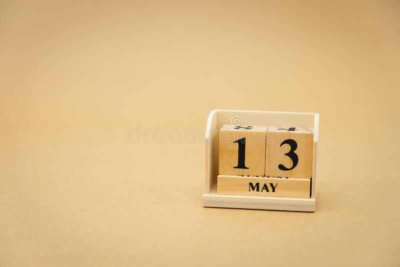 May 13 wooden calendar on vintage wood abstract background. using as background Universal day concept with copy space for your. Text or design stock images